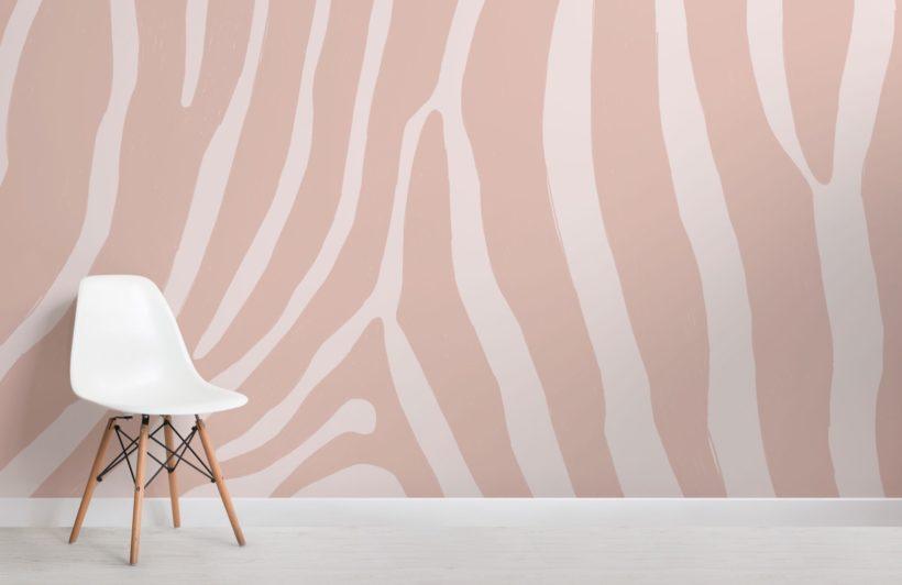 Pink Zebra Print Wallpaper Mural