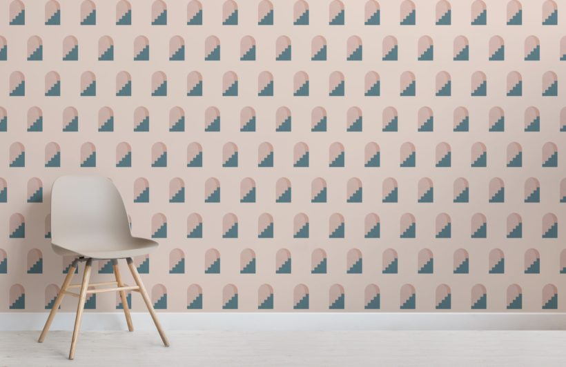 Pink and Blue Archway Pattern Architectural Design Wallpaper Mural