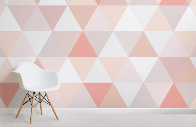 Pink and Nude Geometric Triangle Pattern Wallpaper Mural