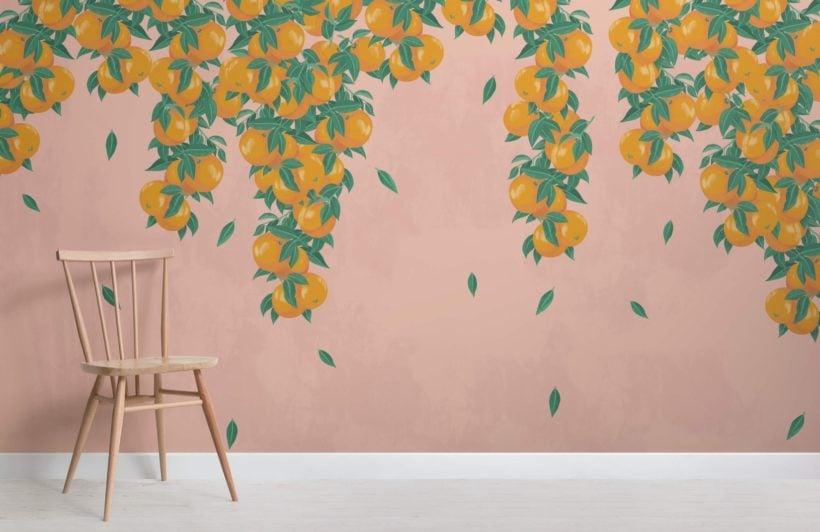 Pink and Orange Fruit Painterly Wallpaper Mural