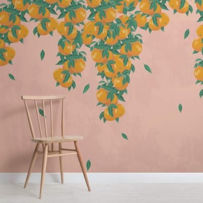 Pink and Orange Fruit Painterly Wallpaper Mural
