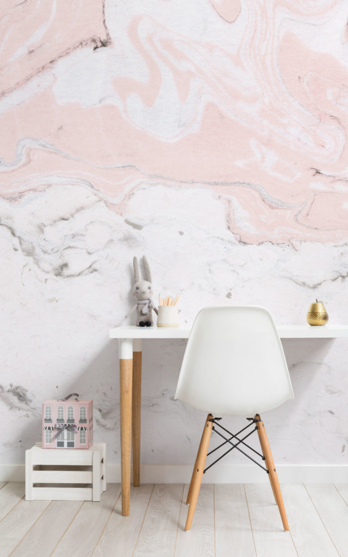 Pink-and-White-Marbled-Paper-Desk