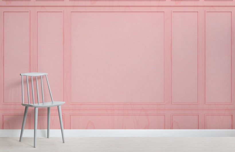 Pink Rectangle Georgian Wood Panel Effect Wallpaper Mural