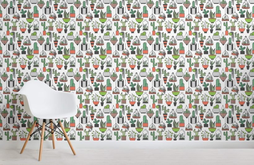 Plant Pattern Illustration Wallpaper Mural