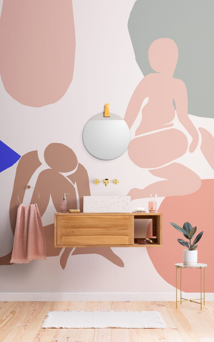 neutral and pastel pink abstract shape wallpaper