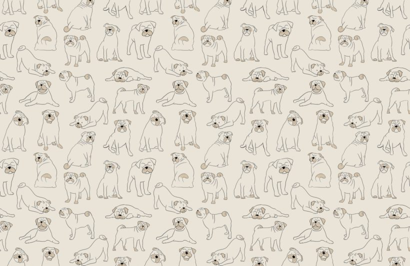 Pug Pattern Dog Wallpaper Mural