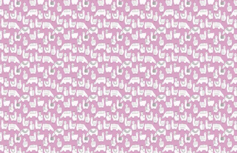 Purple Llama Patterned Wallpaper Mural
