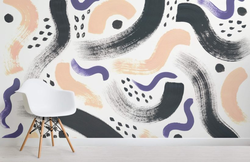 Black and Purple Paint Brush Strokes Abstract Wallpaper Mural