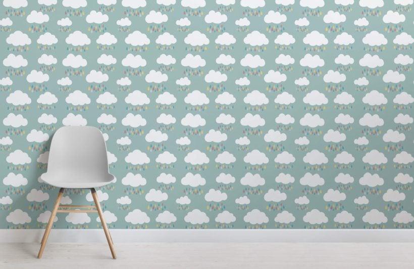 Rain Cloud Pattern Wallpaper Mural