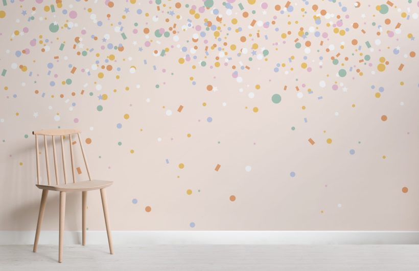 Rainbow Confetti Sprinkles Wallpaper Mural