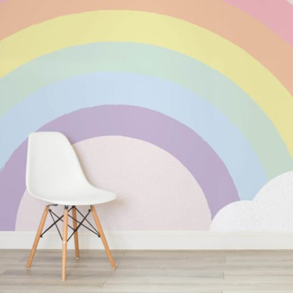 Kids Pastel Rainbow Wallpaper Mural Image