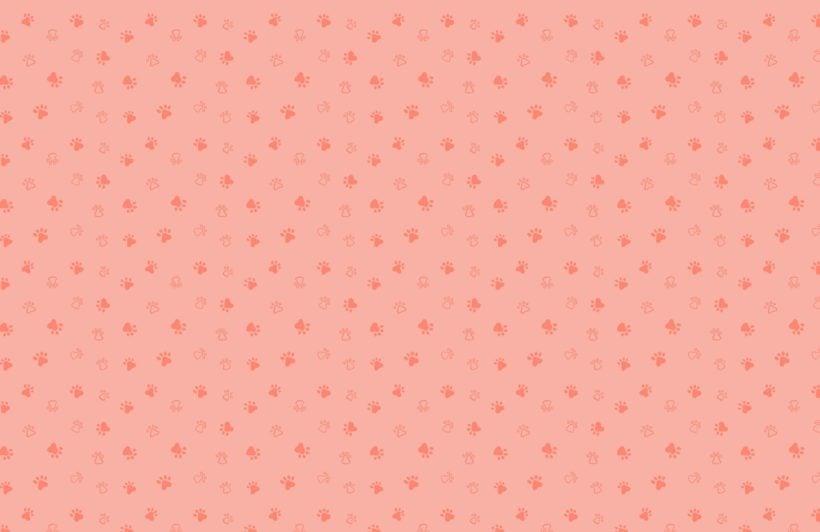 Red Dog Paw Print Pattern Wallpaper Mural
