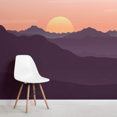 Red Illustrated Landscape Sunset Wallpaper Mural