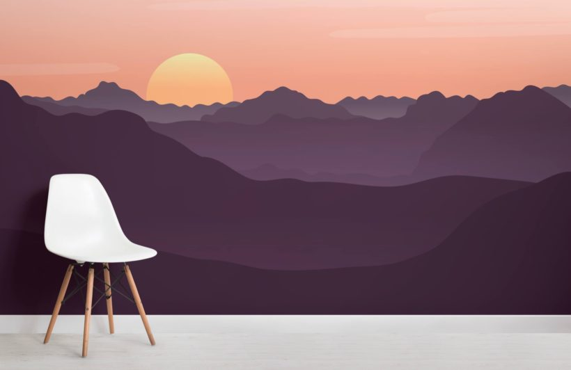 Red Illustrated Landscape Sunset Wallpaper Mural