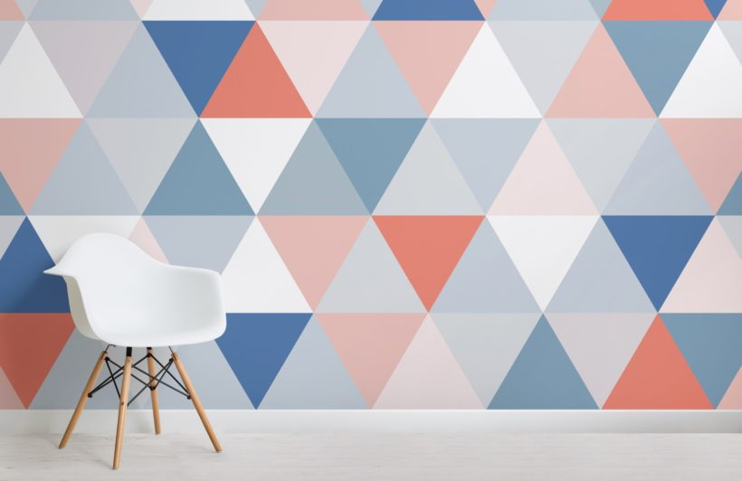 Red and Blue Colourful Geometric Triangle Pattern Wallpaper Mural