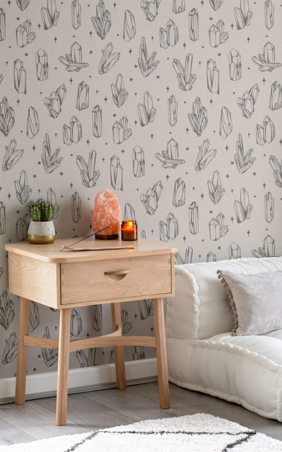 Reiki crystal witchy wallpaper in room