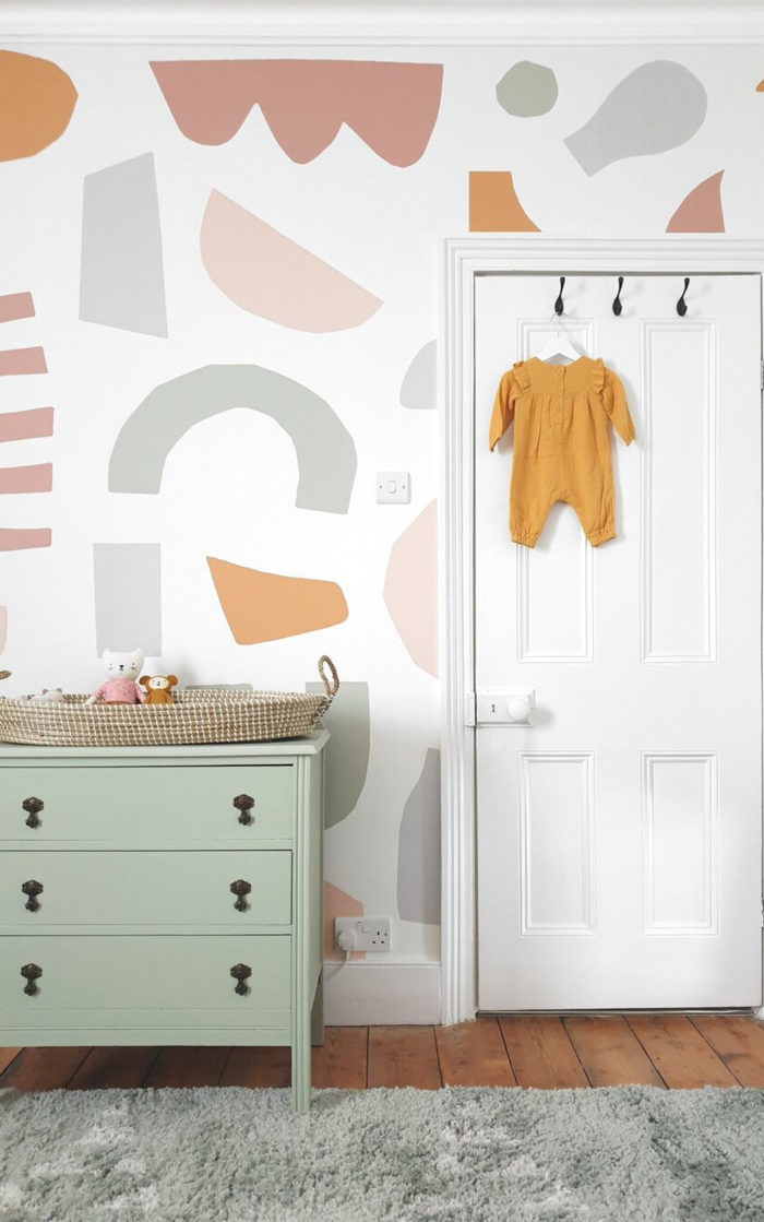 Cutout Pastel abstract wallpaper in nursery