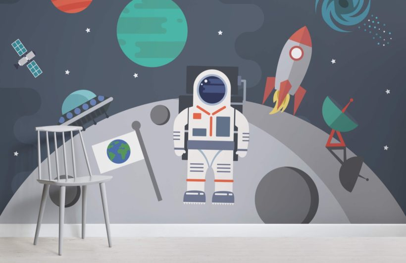 Retro Astronaut Wallpaper Mural