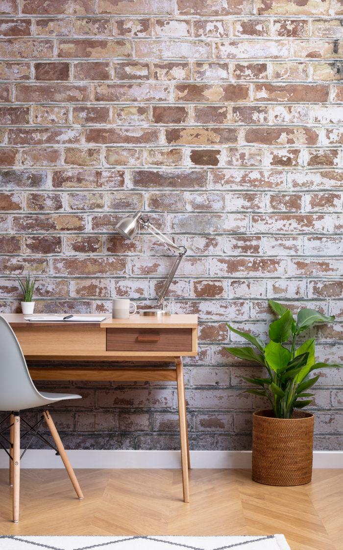 Rustica brick effect wallpaper in office room