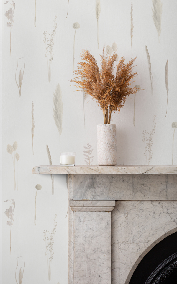 Campaign Poster - Neutral Dried Flowers Botanical Repeat Pattern Wallpaper