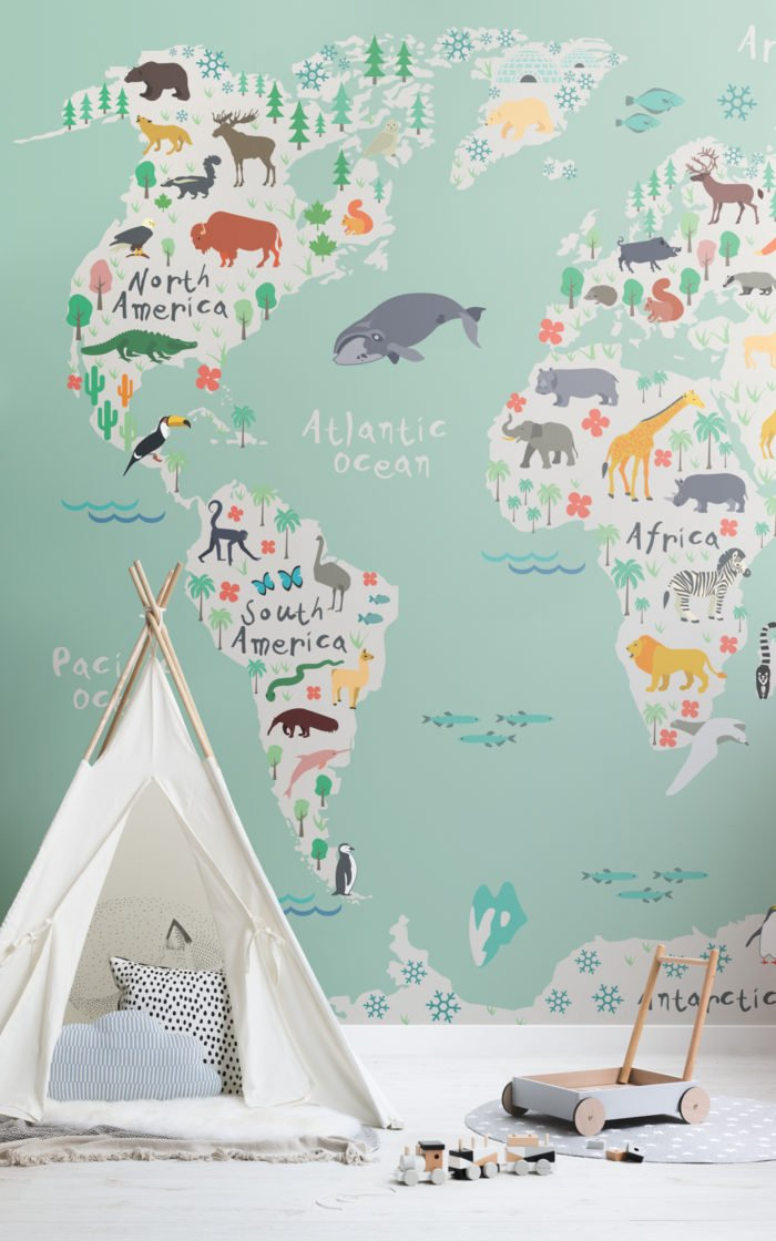 Safari Kids Map Wallpaper Mural Image