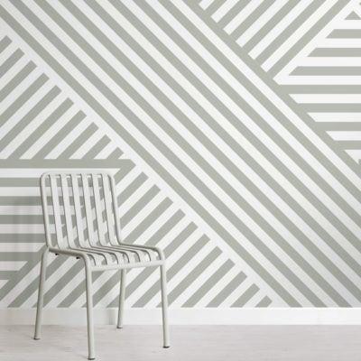 Sage Divert Striped Geometric Wallpaper Mural