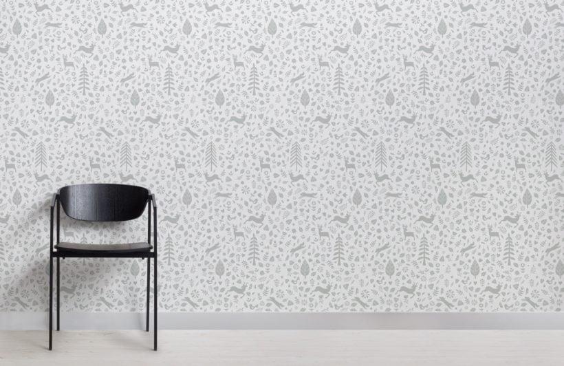 Sage and White Festive Pattern Scandinavian Folk Art Wallpaper Mural