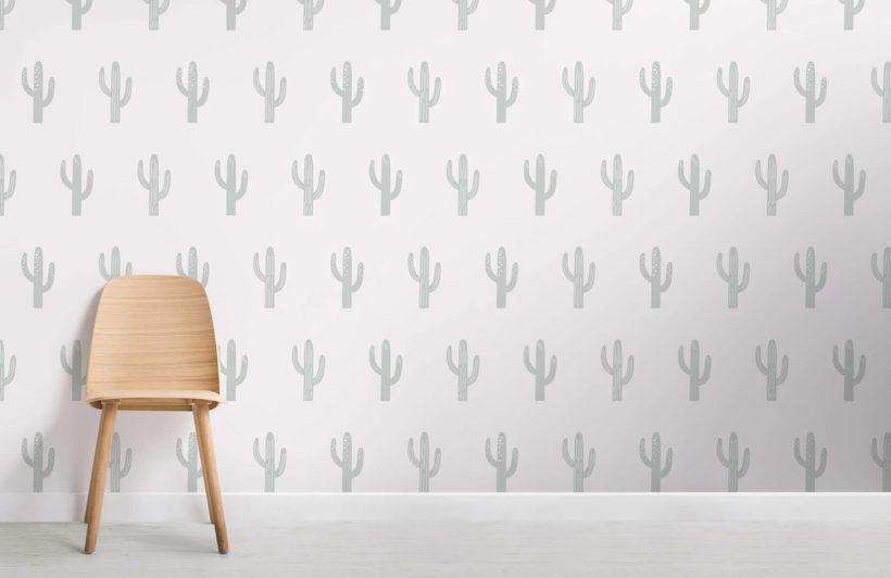 Saguaro - green and cream - room - mw - kj wall mural