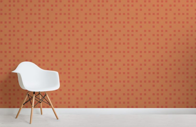Small Orange Squares Pixel Style Wallpaper Mural