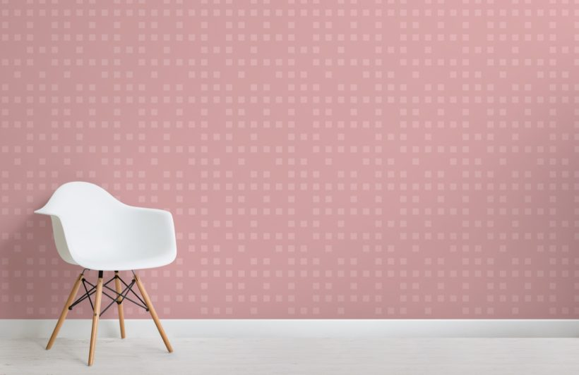 Small Pink Squares Pixel Style Wallpaper Mural