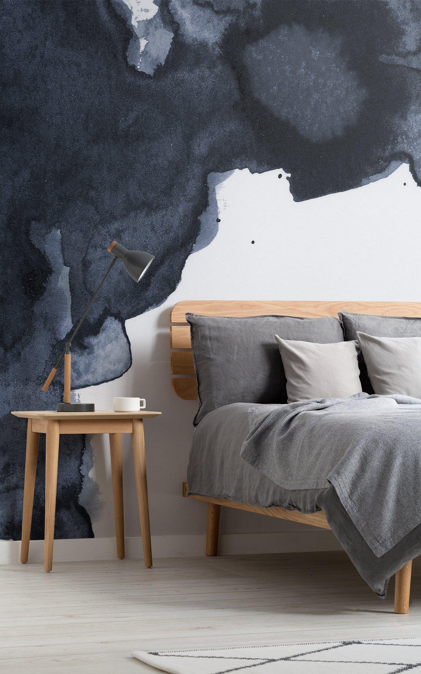 navy blue smoke watercolour wallpaper