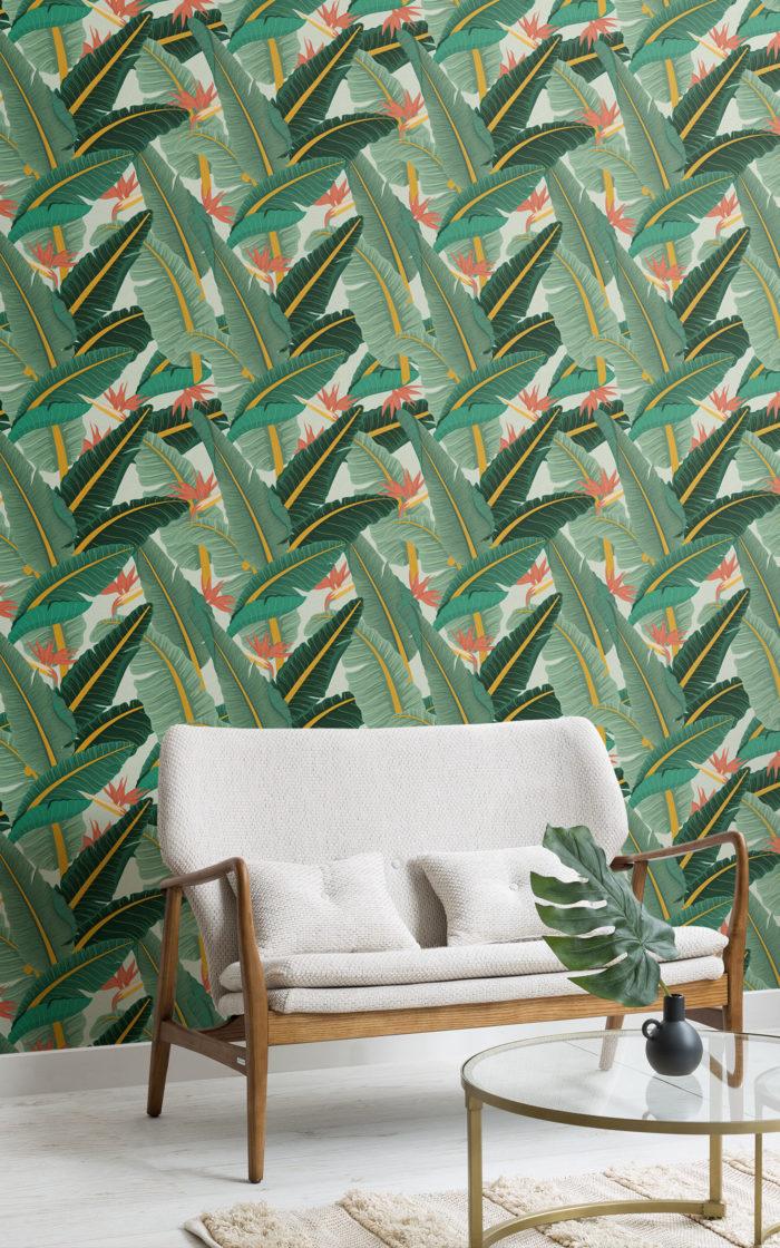green banana leaf pattern wallpaper