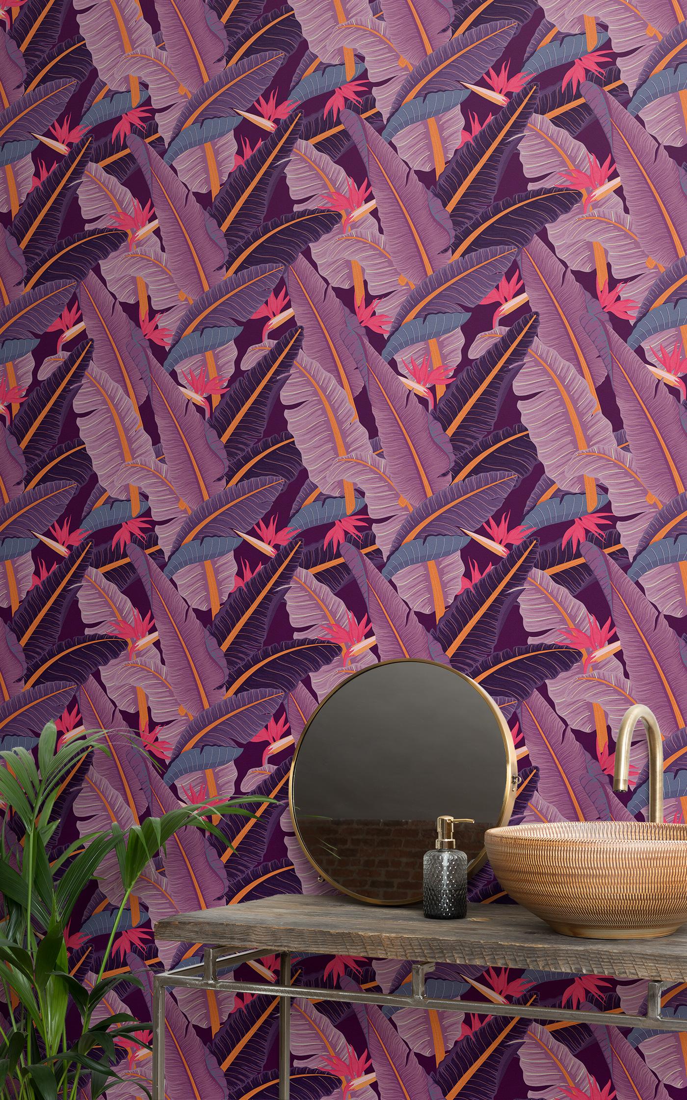 purple banana leaf tropical wallpaper