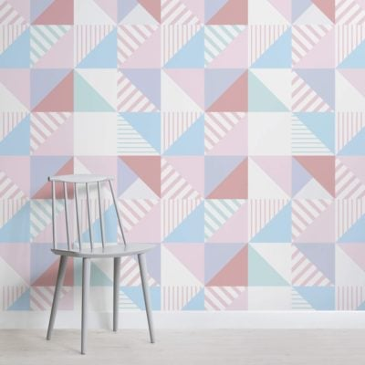 Striped Square Pattern Wallpaper Mural
