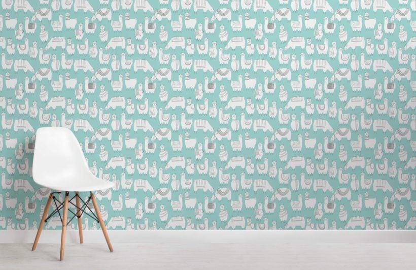 Teal Llama Patterned Wallpaper Mural