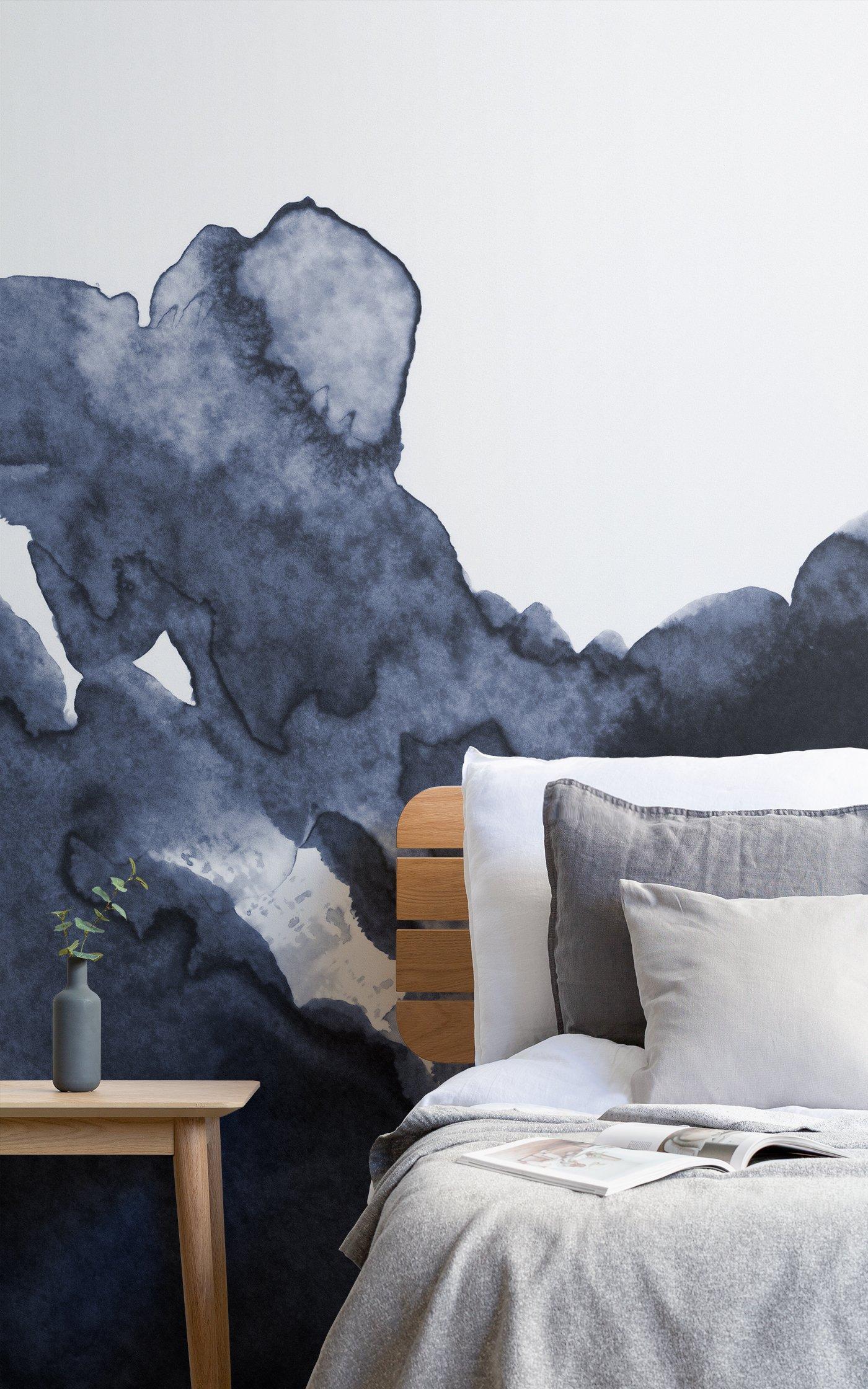 deep blue wave watercolour wallpaper
