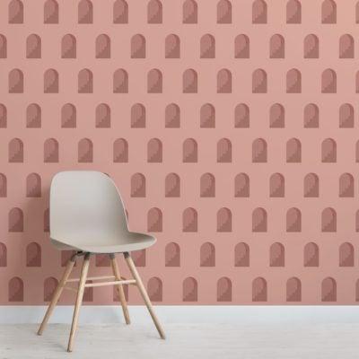 Terracotta Archway Pattern Architectural Design Wallpaper Mural