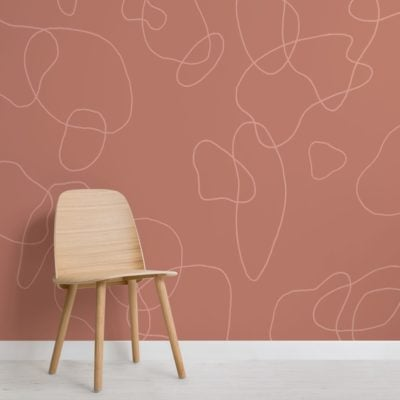 Terracotta-Doodle-Background-Abstract-Wallpaper-Mural
