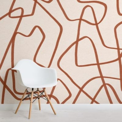 Terracotta-and-Beige-Cool-Doodle-Abstract-Wallpaper-Mural