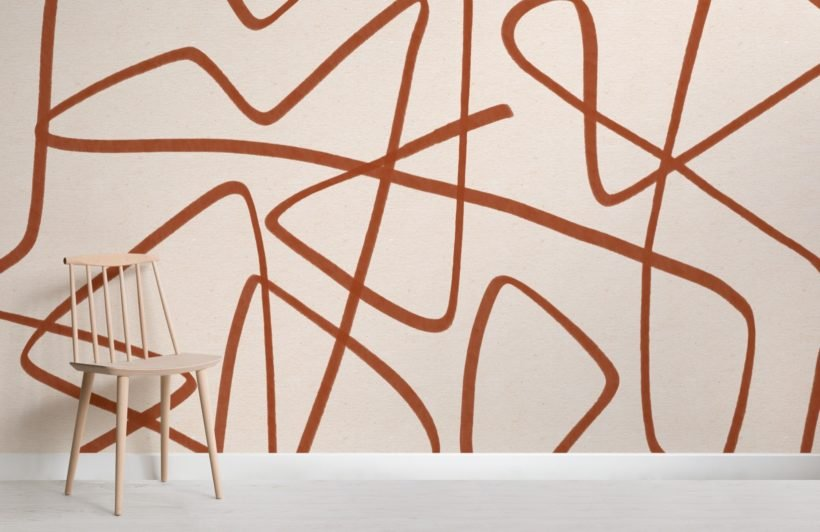 Terracotta-and-Beige-Wavy-Line-Abstract-Wallpaper-Mural