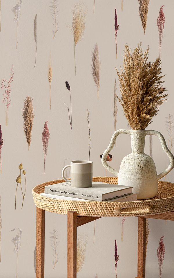 Campaign Poster - Earthy Dried Flowers Botanical Repeat Pattern Wallpaper