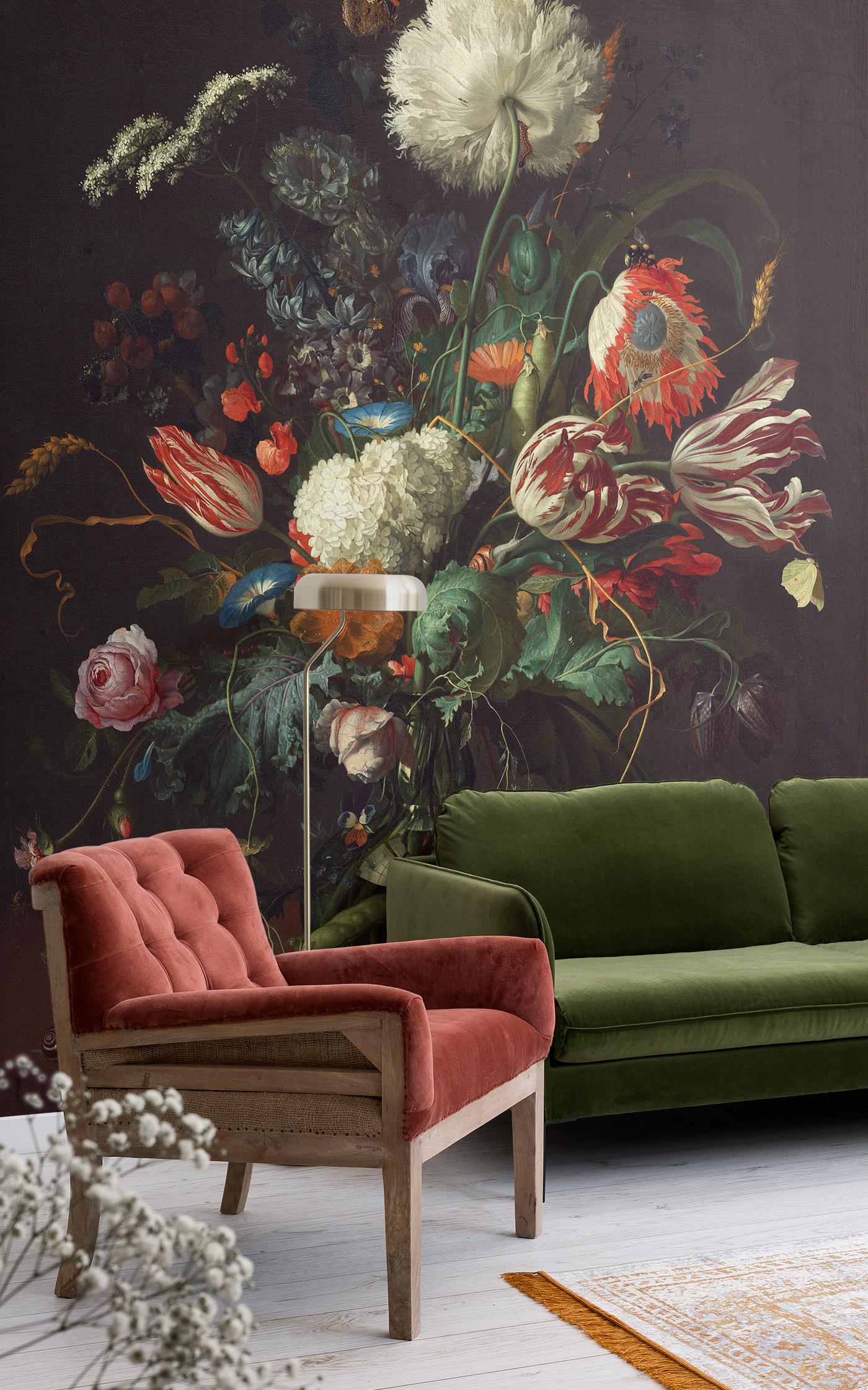 Vase of flower by de Heem wallpaper