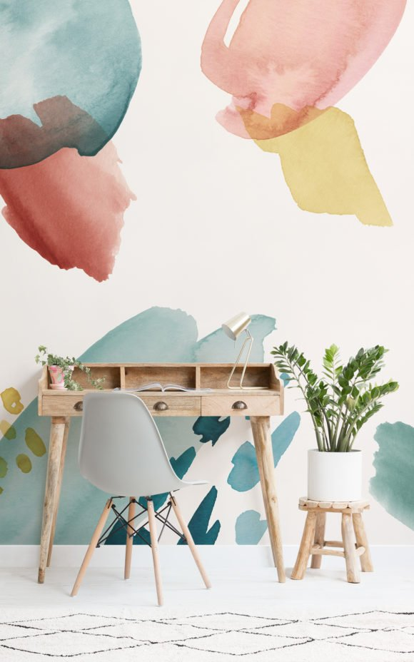 Multi-Coloured Abstract Watercolour Brush Strokes Wallpaper Mural Home Office Blog Image