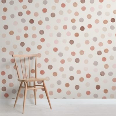 Warm Tone Watercolour Polka Dot Wallpaper Mural