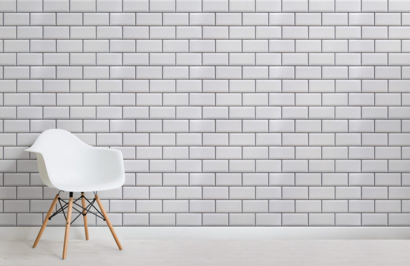 White Ceramic Subway Tile Wallpaper Mural
