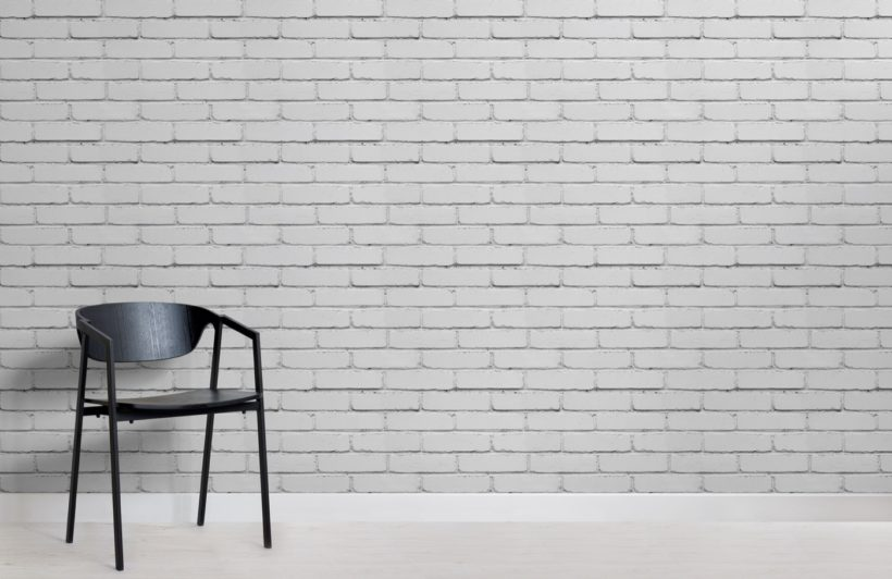 White Painted Brick Wallpaper Mural-Plain