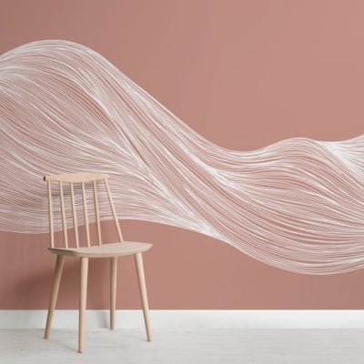White-and-Terroctta-Wavy-Line-Abstract-Wallpaper-Mural