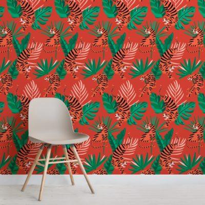Wild Tiger Big Cat Tropical Leaves Wallpaper Mural