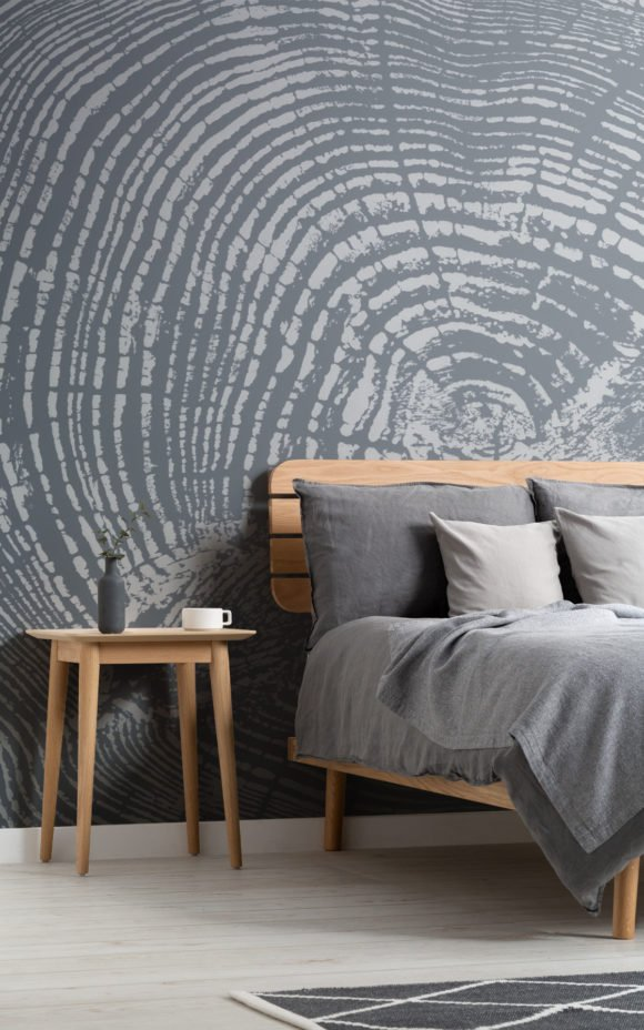 Nordic wood mural in grey bedroom