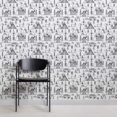 Woodland Campervan Pattern Wallpaper Mural